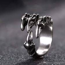old style rings images Punk rock stainless steel mens resizable dragon claw rings vintage jpg