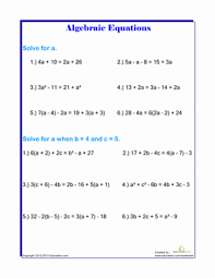 solving algebraic equations worksheet education com