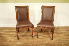 Quality Leather Dining Chairs Solid Walnut Leather Upholstered Dining Chairs With Brass Nails