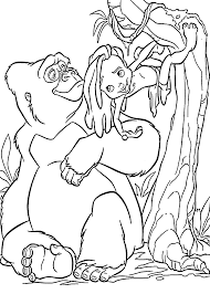 little tarzan with mom gorilla coloring pages for kids printable