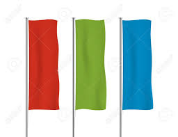 Hanging American Flag Vertically Red Green And Blue Banner Flag Vector Templates Row Of Vertical