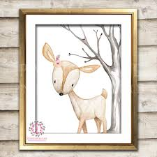 Baby Deer Nursery Boho Deer Nursery Wall Art Print Decor Woodland Boho Tribal