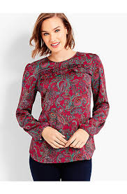 paisley blouse ruffle yoke blouse paisley talbots