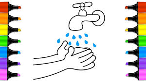 how to draw a water faucet baby wash your hands coloring book