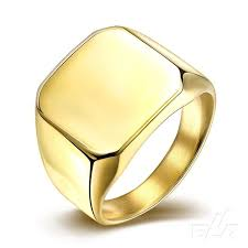 men gold ring 2016 never fade titanium steel fashion smooth silver gold ring