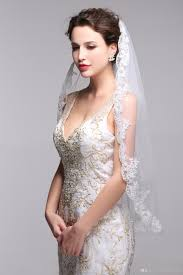 2016 cheap elbow length wedding veils with comb one tier bridal