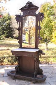 antique victorian eastlake marble top hall tree coat rack umbrella