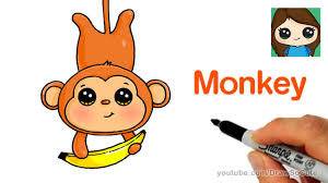 how to draw a cartoon monkey easy youtube