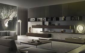 contemporary living room wall unit lacquered wood by mauro