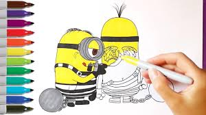 despicable me 3 minions in prison coloring pages coloring