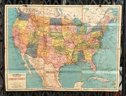 Old United States Map by Antique Folding Cloth Backed Map Of The United States Circa