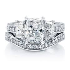 Wedding Rings At Walmart by Sterling Silver Cushion Cubic Zirconia Cz 3 Stone Engagement