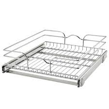 kitchen cabinet pull out storage racks rev a shelf 5wb1 1820cr 1 18 inch x 20 inch single wire basket pull out shelf storage organizer for kitchen base cabinets silver
