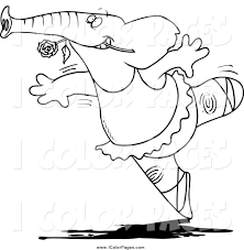 vector coloring page of a black and white ballet elephant dancing