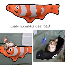 creative fish shape pet cat hammock bed warm soft wall window