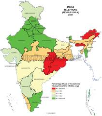India Map With States by State Wise Mobile Phone Users In India Census 2011