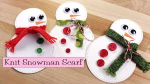 snowman knit scarf link to paper craft tutorial youtube