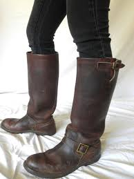mens leather motorcycle riding boots vintage hudson bay boots herters brown leather rare snake proof
