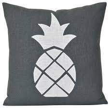 Grey Decorative Pillows Pineapple Pillow Grey Linen Pillow
