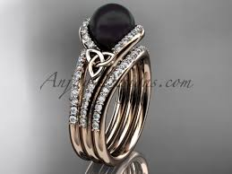 engagement rose rings images Black pearl double band engagement rose gold ring ctbp7317s jpg