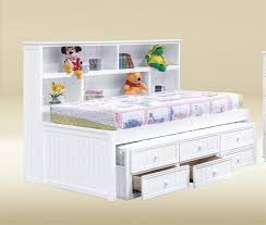 White Bookcase With Storage Bianca White Twin Size Bookcase Bed Trundle Bed