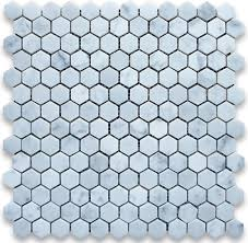12 x12 carrara white hexagon mosaic tile polished chip size 1