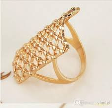 long name rings images Exaggerated 18 k gold plated hollow out net long finger rings jpg