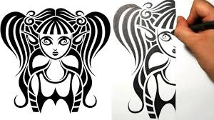 designing a gothic pixie girl tribal tattoo design style youtube