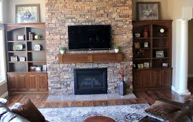rustic brick stone wall decorating ideas living room with black