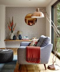 Wall Mirrors For Living Room by Geometric Wallpaper For Stunning Living Room Decor With Round Wall