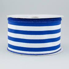 blue and white striped ribbon 2 5 vertical stripe satin ribbon royal blue white 10 yards