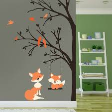 wall decal baby fox swing trees corner woodland forest