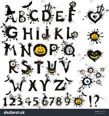 decorative scary style alphabet halloween theme stock vector