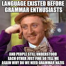 Grammar Nazi Memes - why do we need grammar nazis language existed before grammar
