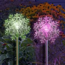 solar outdoor lights color changing snowflake my