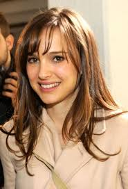 hairstyles for high forehead and fine hair portman long hairstyles with bangs for thin hair