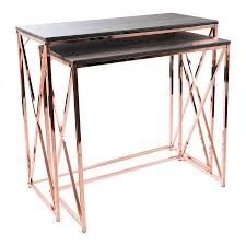rose gold vanity table caity nesting wood and rose gold tables