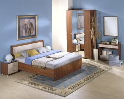 Small Bedroom King Bed Lacquered Mahogany Wood King Bed Frame Mixed Light Blue Bedroom