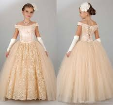 2016 new vintage flower girls dresses for wedding off shoulder