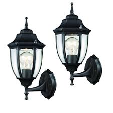 Hampton Bay Outdoor Light Fixtures by Hampton Bay Black Outdoor Wall Lantern 2 Pack Hd 4470t Bk The