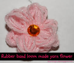 make loom band hair pins make yarn flowers on rubber band loom sparklingbuds