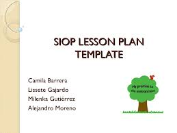 hands on activity presentation siop lesson plan template