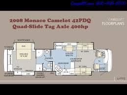 2008 monaco camelot 42pdq quad slide tag axle 400hp