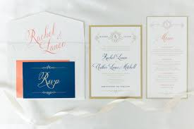 5x7 gold white coral u0026 navy wedding invitation suite with details