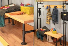 Storage Coat Rack Bench Build A Bench U0026 Coat Rack From Pipes My Home My Style