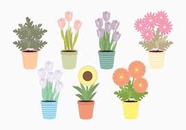potted flowers vector potted flowers set free vector stock