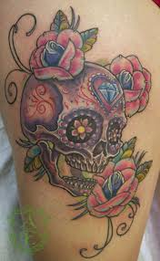 29 best sugar skull thigh tattoo images on pinterest skull thigh