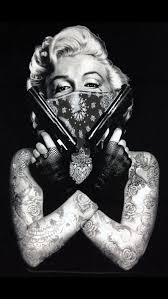 thug marilyn monroe with pistols tattoo design photo 3 2017