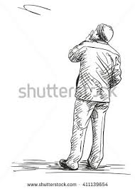 sketch young man standing backpack hand stock vector 425152108