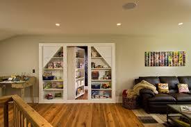 hidden door bookcase basement traditional with bookcase